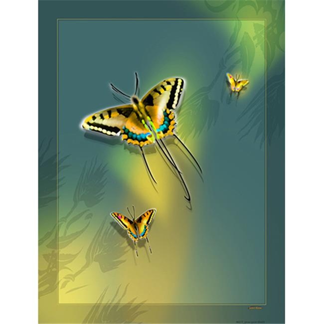 Lama Kasso 562-T Large Butterflies on a Light Avocado Green Transitioning to Light Gold Background 56 in. x76 in. Satin Throw