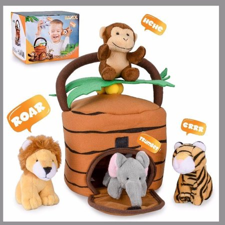 Jungle Animals Talking Plushie Set - Realistic Sounding Stuffed Animal Toys For Babies, Toddlers & Children - Cute, Snuggly & Adorable