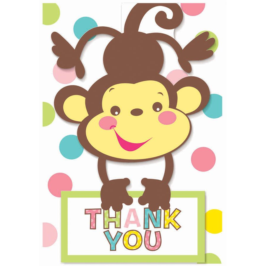 Fisher Price Baby Shower Folded Thank You Cards (8 Pack) - Party Supplies