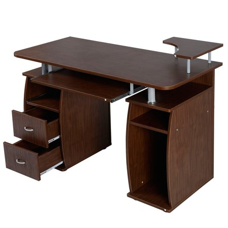 Office Computer Desk with Monitor Shelf - Walnut