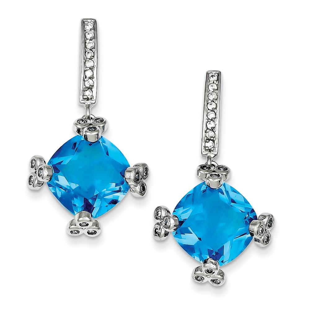 Sterling Silver Blue & Clear CZ Post Earrings. (1.2IN x 0.7IN )