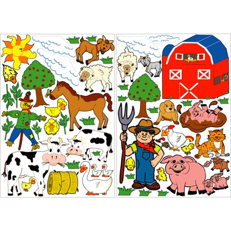 Farm Animals Wall Stickers Animal Nursery Decor Decals With Cows Sheep