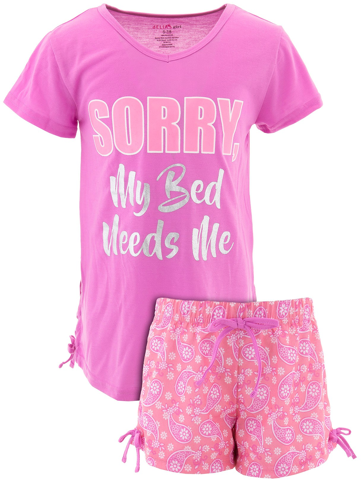 dELiA*s Girls My Bed Needs Me Pink Short Pajamas
