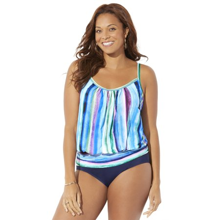 Swimsuits For All Women's Plus Size Lightweight Blouson Tankini Set