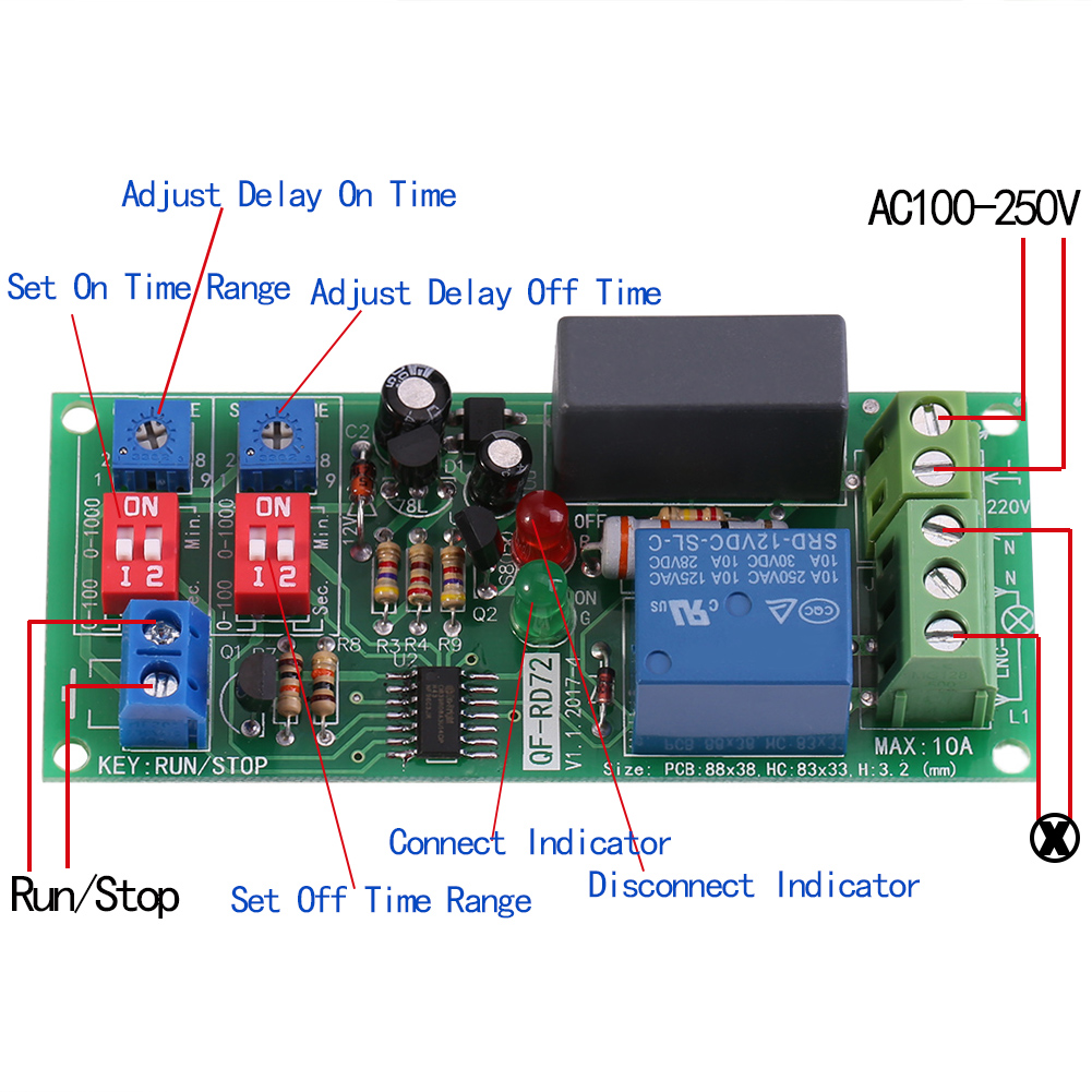 Ac100v250v Infinite Cycle Delay Timer Timing Switch Relay Turn On Led Indicator Circuit For Board Games Electronic Off Module 05s 1000min Adjustable