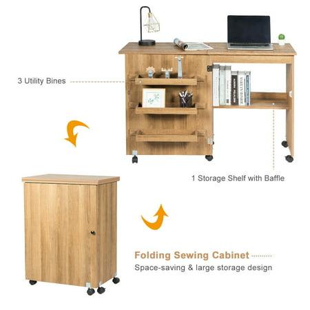 Gymax Folding Sewing Craft Table Shelf Storage Cabinet Home Furniture W Wheels Natural Walmart Canada