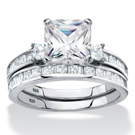 princess cut cubic zirconia halo 2 piece wedding ring set 359 tcw in platinum - 2 Piece Wedding Rings