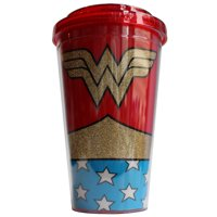 Warner Brothers Wonder Woman Uniform 16oz Double Walled Plastic Flip Straw Cup Glitter