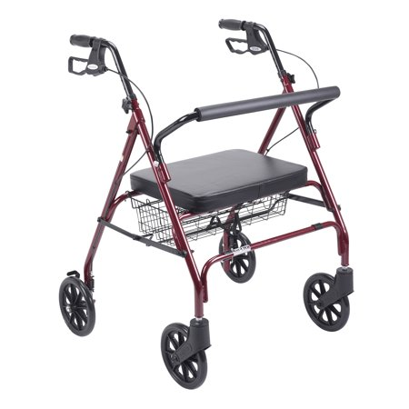 Drive Medical Heavy Duty Bariatric Walker Rollator With Large Padded Seat  Red