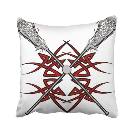 ARTJIA Base Lacrosse Sticks And Ball With Tribal Borders Graphic Clipart Drawing Game Hard Sport Pillowcase Throw Pillow Cover Case 18x18 inches](Halloween Clipart Borders)