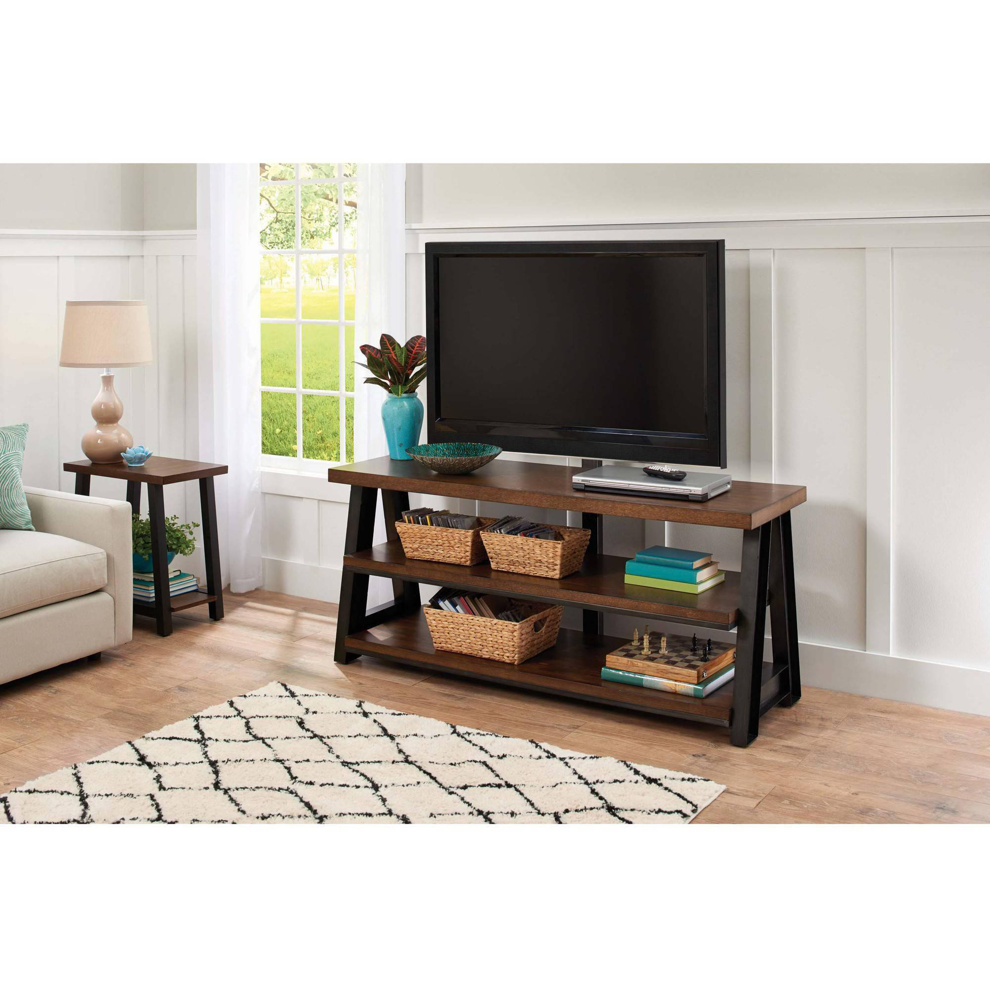 Better Homes and Gardens Mercer 3 in 1 Brown TV Stand for TVs up