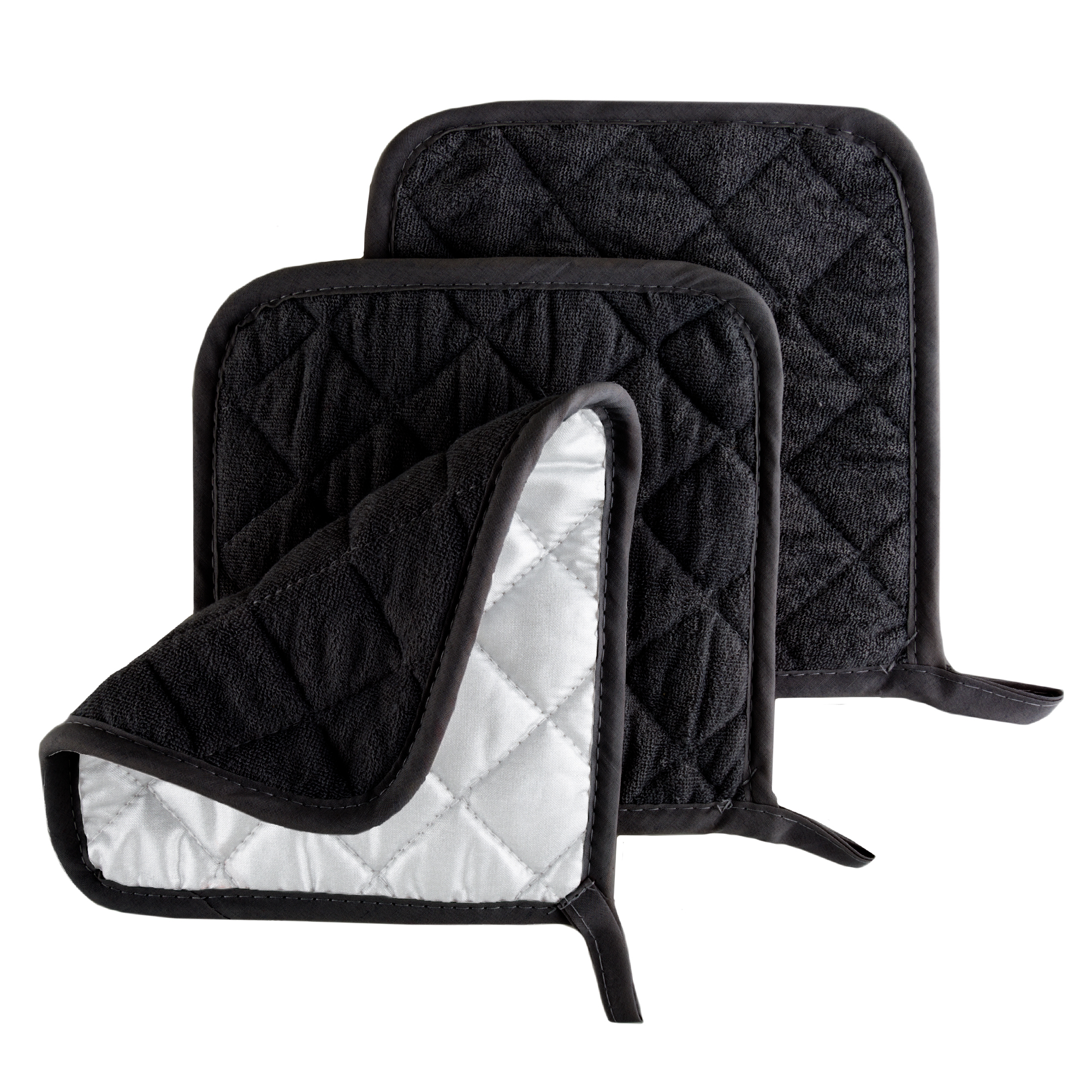 Pot Holder Set, 3 Piece Set Of Heat Resistant Quilted Cotton Pot Holders By Somerset Home, Multiple Colors Available