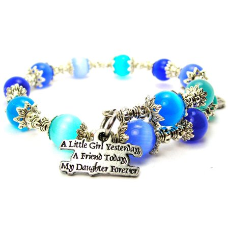 Little Girl Birthstone Charm - Chubby Chico Charms A Little Girl Yesterday Cat's Eye Wrap Charm Bracelet in Sapphire and Aqua Blue Glass