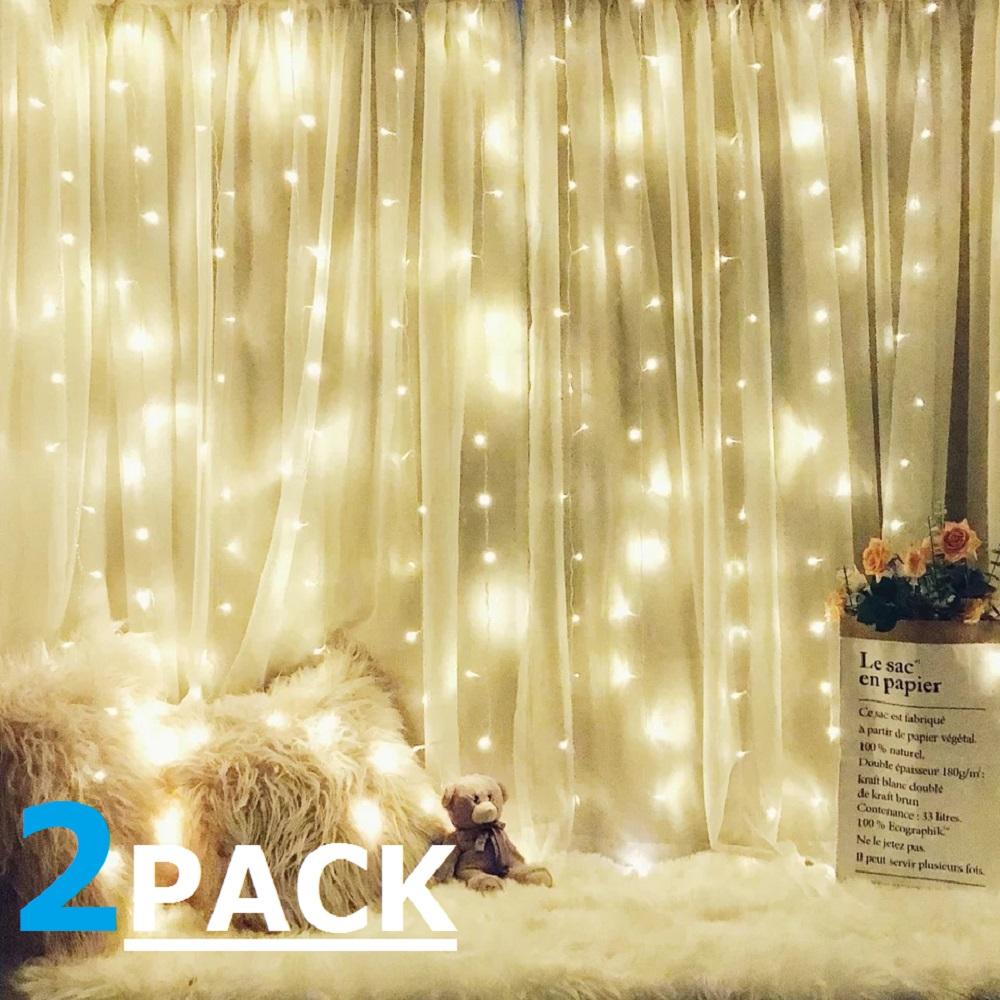 TORCHSTAR 2 Pack 9.8ft X 9.8ft LED Curtain Lights, Starry Christmas String  Light