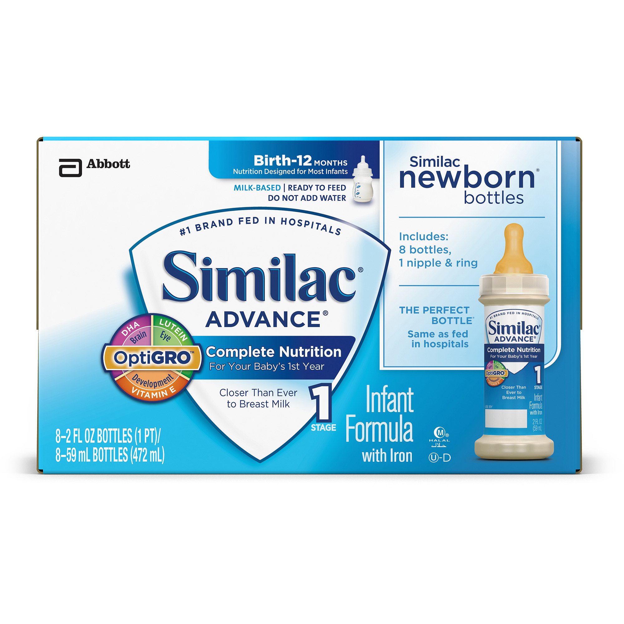 Similac Advance Infant Formula with Iron Ready to Feed, 2 fl oz, 8 count, (Pack of 6)