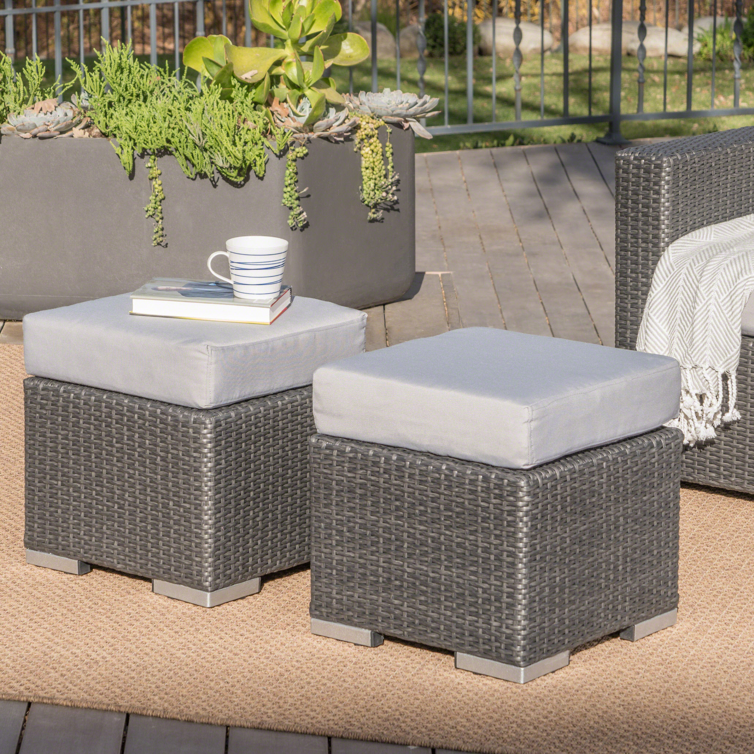 Avianna Outdoor 16 Inch Wicker Ottoman Seat with Cushion, Set of 2, Grey, Silver