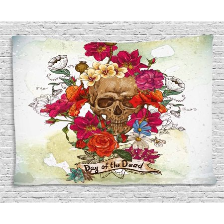 Day Of The Dead Decor (Day Of The Dead Decor Tapestry, Skull Dead Head with Flowers Daisies Spanish Festive Tradition Print, Wall Hanging for Bedroom Living Room Dorm Decor, 80W X 60L Inches, Multicolor, by)