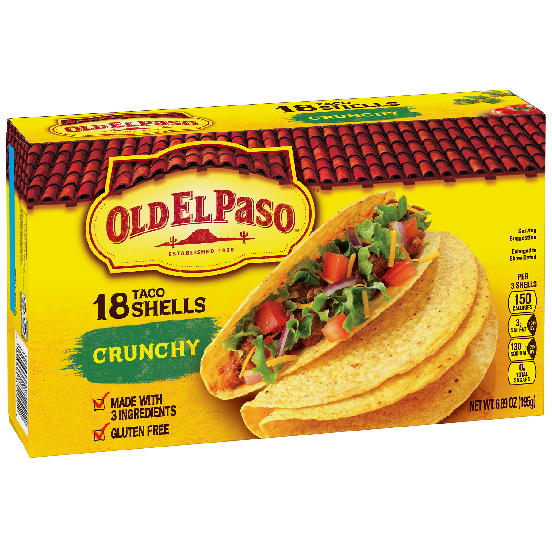 Old El Paso Crunchy Shells, Gluten Free, 18 Ct, 6.89 oz Box