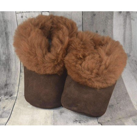 Alpaca Leather Bootie Slippers with Fur Lining