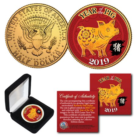 2019 Lunar New YEAR OF THE PIG 24K Gold Plated Coin with BOX 24k Gold Plated Coin