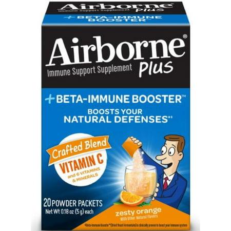 - Airborne Plus Beta-Immune Booster Powder Packet-Zesty Orange 20 ea