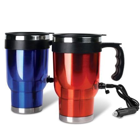 1 Travel Heated Mug Thermo Stainless Steel Portable Insulated Coffee Car (Best Portable Coffee Mug)