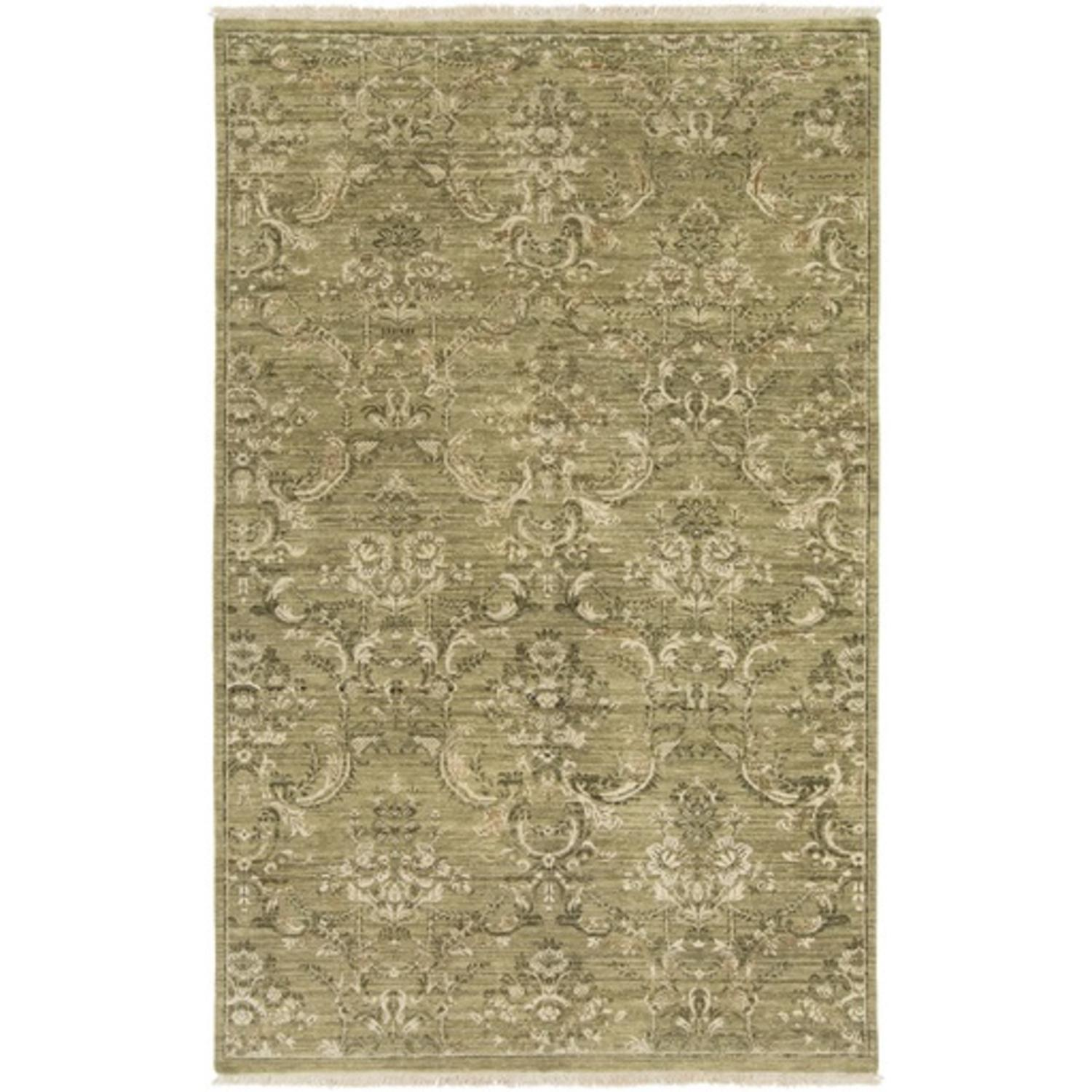 9' x 13' Family Heirloom Olive Green and Sandy Beige Wool Area Throw Rug