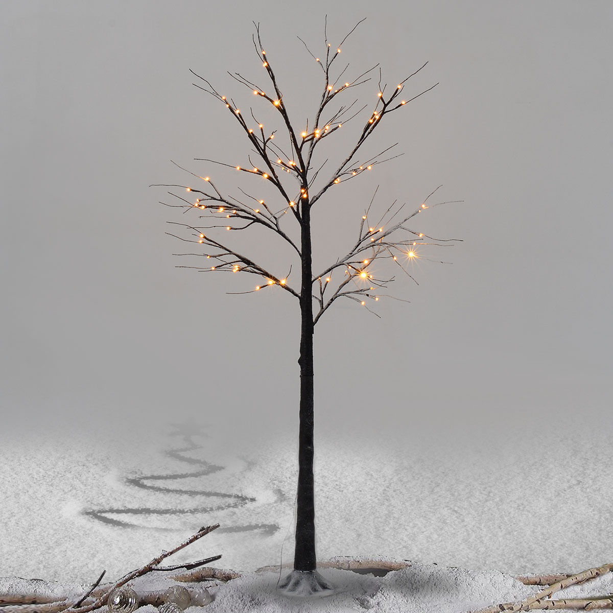 Costway 6Ft Christmas Xmas Brown Birch Snow Tree LED Light Warm Decorative Festival Party