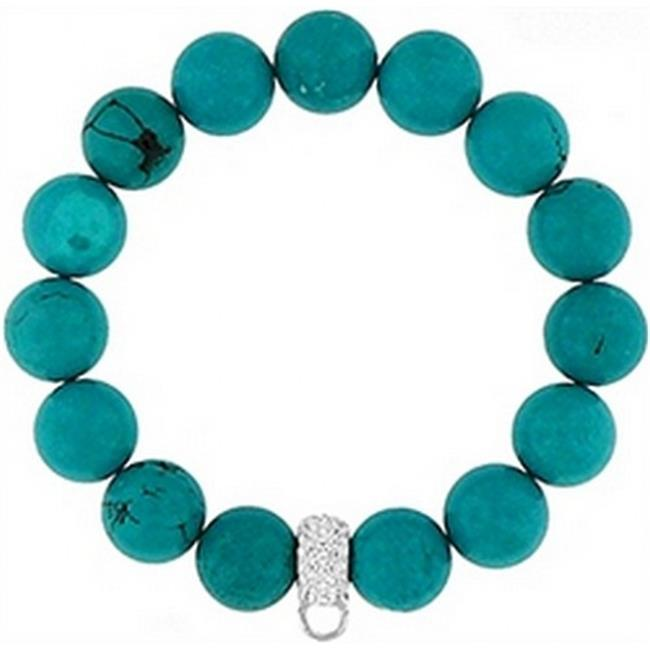 Doma Jewellery DJS01443 Bracelet with Crystal Charm Enhancer - 12mm Synthetic Turquoise Beads