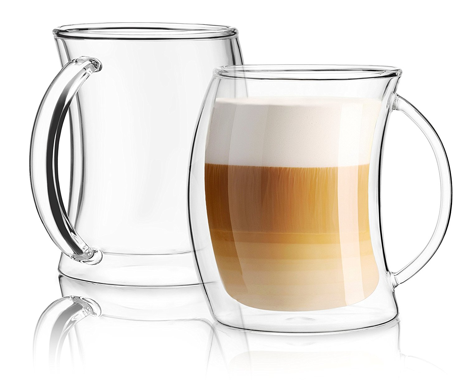 Caleo Collection Glass Coffee Cups Double Wall Insulated ...