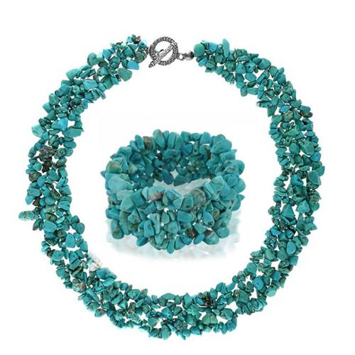 Bling Jewelry Multi Strand Simulated Turquoise Chips Cluster Necklace and Bracelet Set Silver Plated