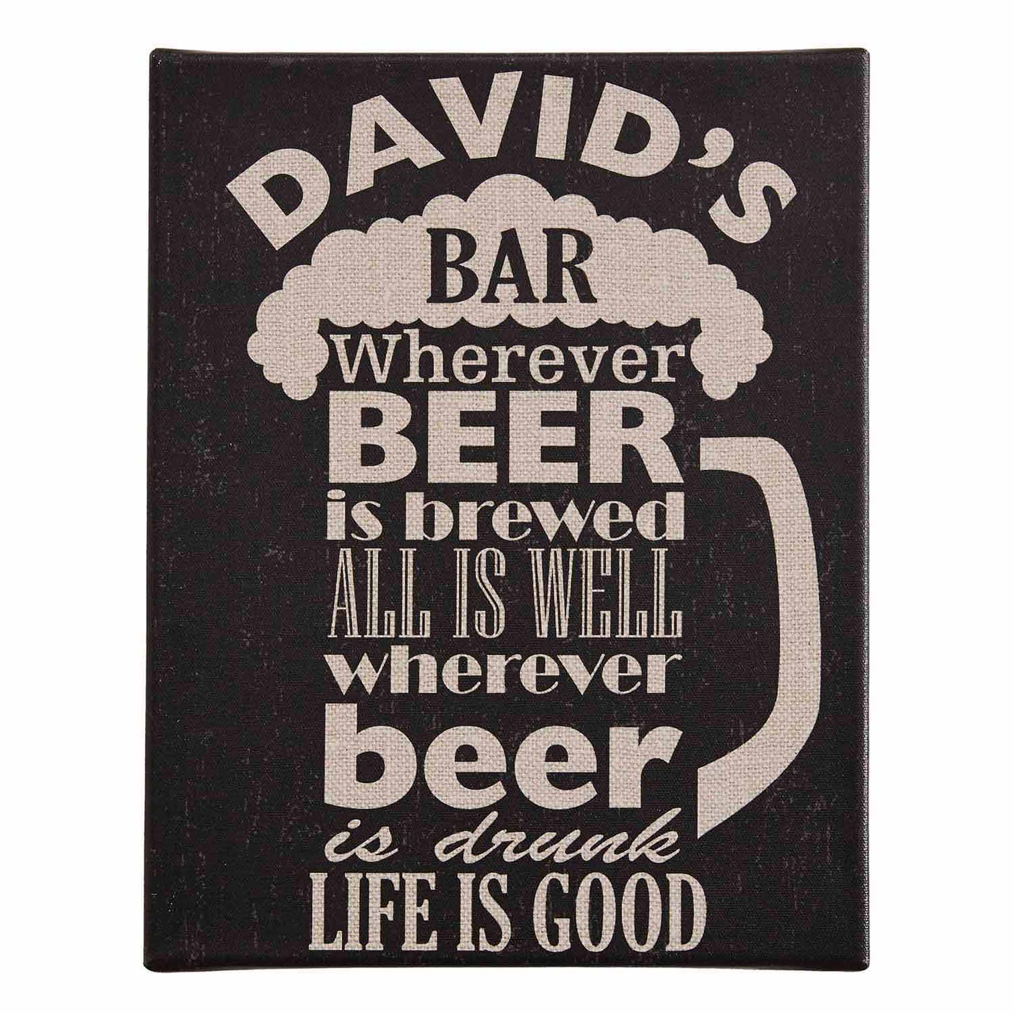 Personalized Beer-Shaped Text Canvas