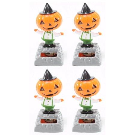 Halloween Solar Dancing Toys (Set of 4 Dancing Pumpkin with Hat Halloween Nightmare Solar Toys Party)