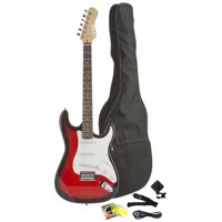 Fever Full Size Electric Guitar with Gig Bag, Clip on Tuner, Cable, Strap and Strings Color Red