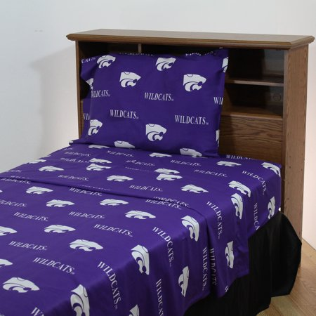 State Wildcats Spring - Kansas State Wildcats 100% cotton, 4 piece sheet set - flat sheet, fitted sheet, 2 pillow cases, Queen, Team Colors