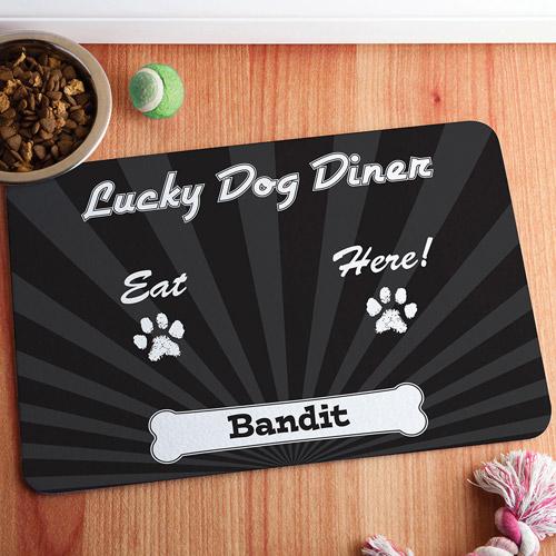 Personalized Lucky Dog Diner Meal Mat, Black