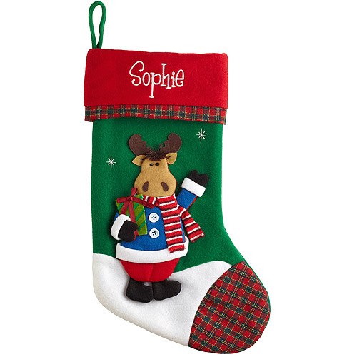 Personalized Festive Plaid Character Christmas Stocking, Moose