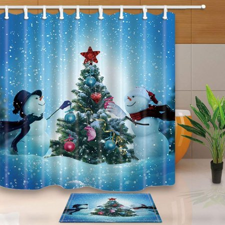 BPBOP Winter Christmas Snow Landscape Decor Snowmen Decorating a Christmas Tree for Love Shower Curtain 66x72 inches with Floor Doormat Bath Rugs 15.7x23.6 inches - Decorating Classroom Doors For Christmas