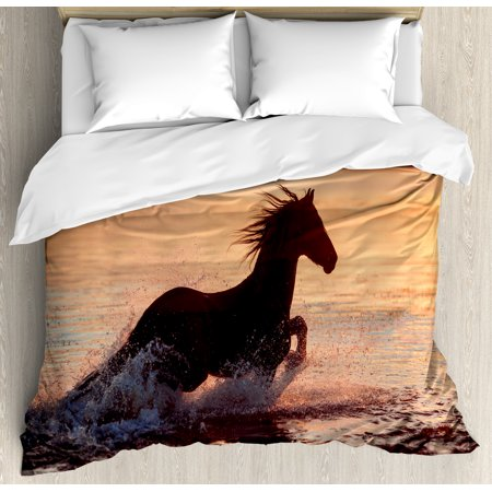 Equestrian Duvet Cover Set, Horse Sea at Sunset Time Horizon Speed Exotic Nature Animal Picture Art, Decorative Bedding Set with Pillow Shams, Salmon Dark Brown, by