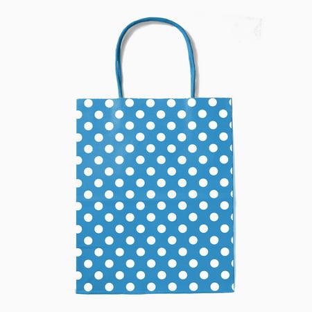 Purple Flowers Gift Bag - 12CT Polka Dots Kraft Gift Bag with Sturdy Handle - Medium, Turquoise