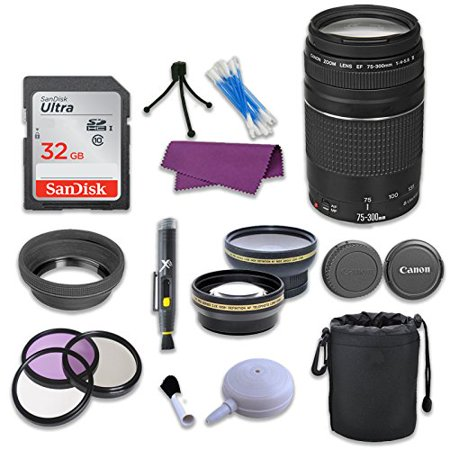 Canon EF 75-300mm f/4-5.6 III Telephoto Zoom Lens & SanDisk 32GB Memory Card for Canon EOS Rebel T5i Digital SLR Camera ()