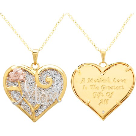 Luminesse 18Kt Gold Over Sterling Silver  Mom  Heart Pendant Made With Swarovski Elements  18