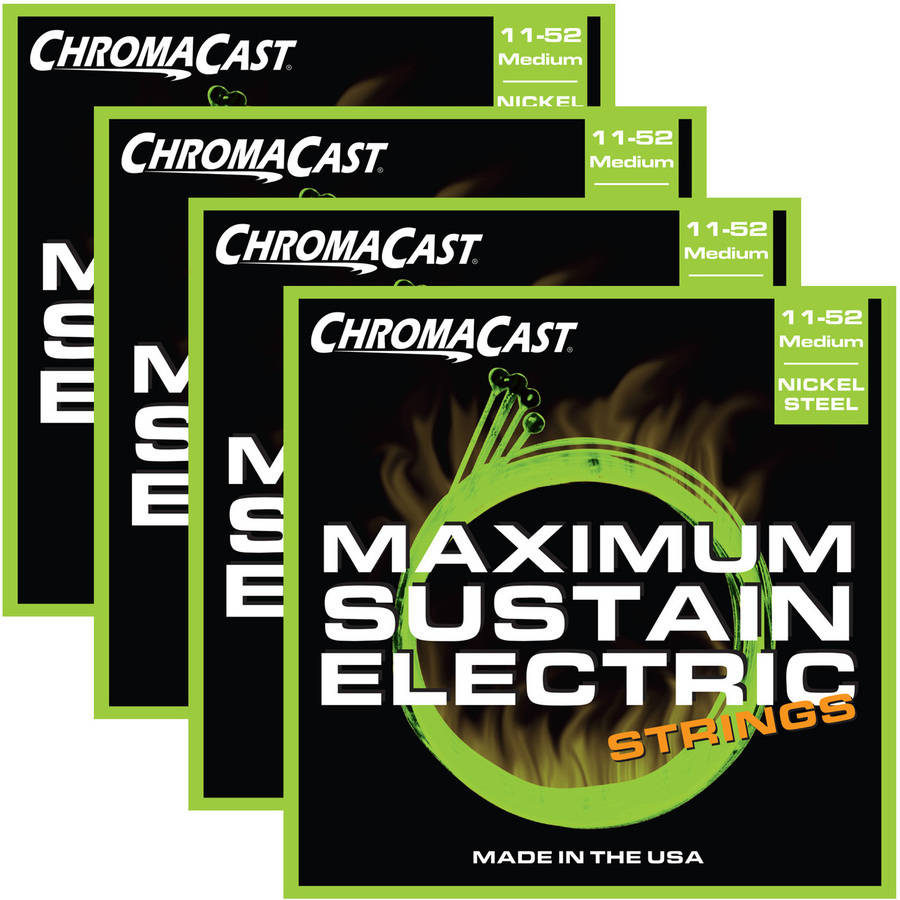 ChromaCast Maximum Sustain Medium Gauge(.011-.052) Electric Guitar Strings, 4 Pack by ChromaCast