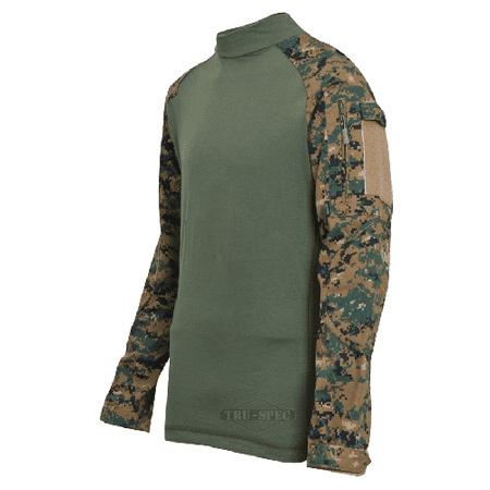 Truspec - Tru Combat Shirt Woodland Digital/Olive Drab 65/35 Polyester/Cotton Rip-Stop Regular - image 1 de 1