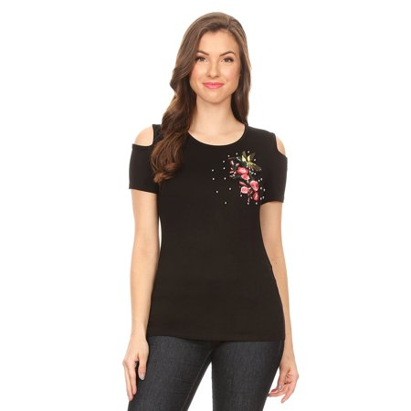 3777 Women Tank Top Floral Embroidered Sleeve Less Casual Fit Soft Stretch Black S