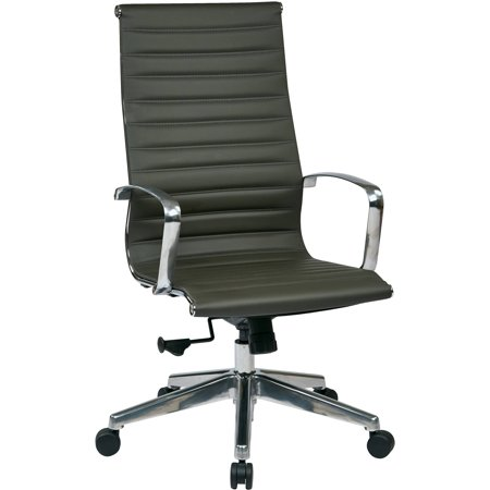 OSP Furniture High Back Grey Eco Leather Chair, Grey