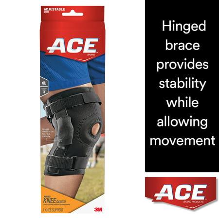 ACE Brand Hinged Knee Brace, Adjustable, Black, 1/Pack