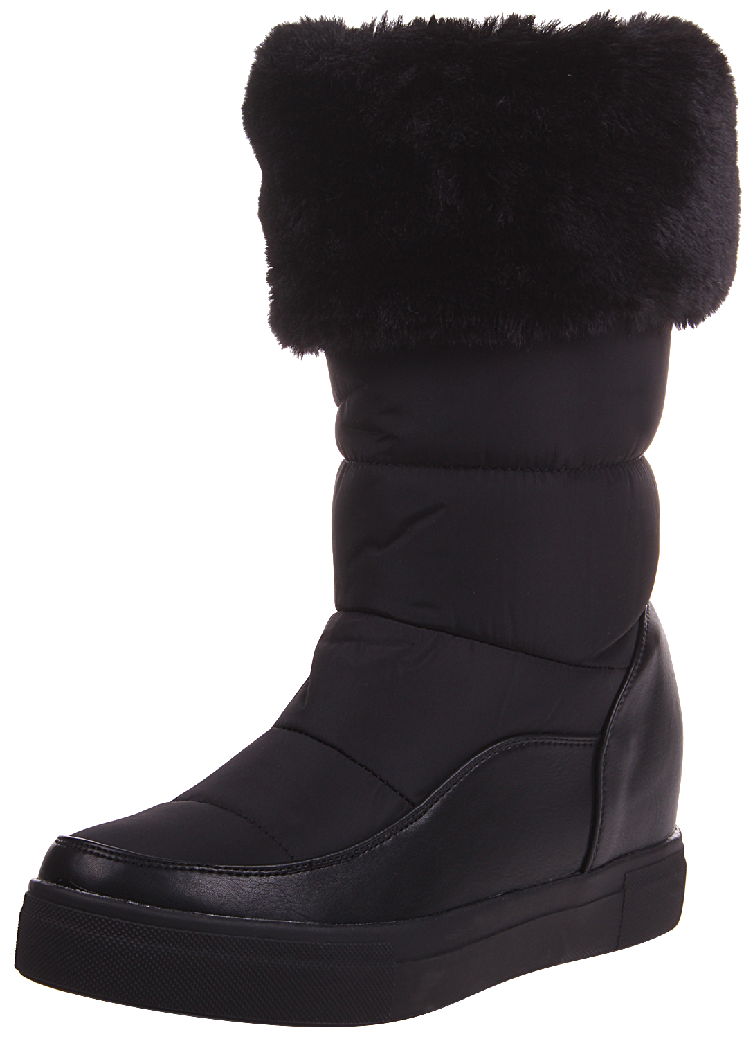 Enimay Women's Faux Fur Lined Water Resistant Mid-Calf Slip-On Winter Boot Black 6 by Enimay