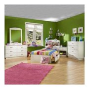 kids pure white twin wood mates storage bed 4 piece bedroom set - Kids Bedroom Sets
