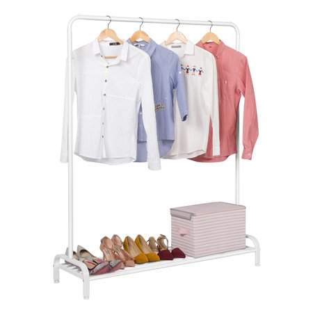 LANGRIA Simple All-Metal Free Standing Commercial Grade Clothing Garment Rack 47.2 x 17.7 x 63 inches, White Freestanding Garment Rack